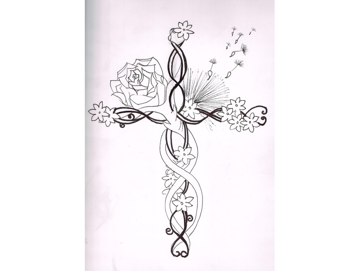 6752bb9e5 Flower Tattoo Drawings Cross - Clipart Library