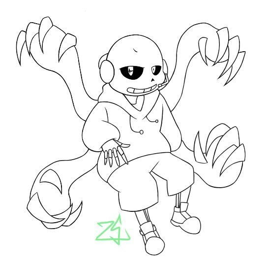 Anti Virus Sans Undertale Amino Sketch Coloring Page Card From