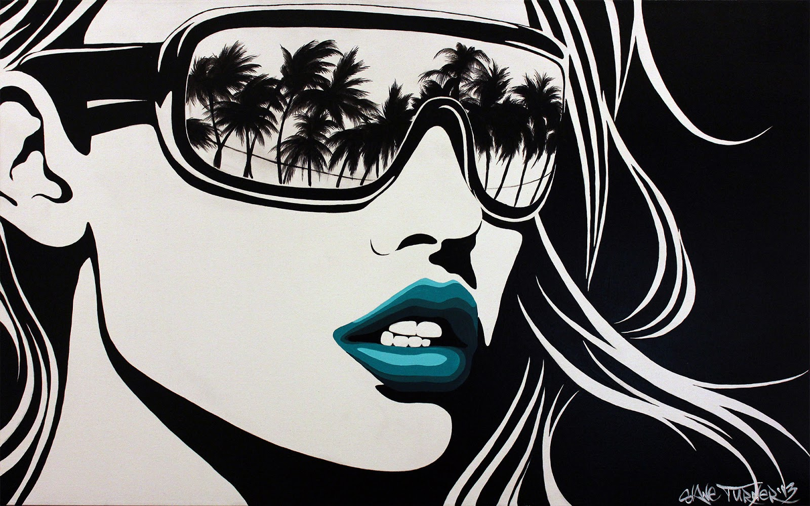 painting of black and white pop art style portrait of woman card
