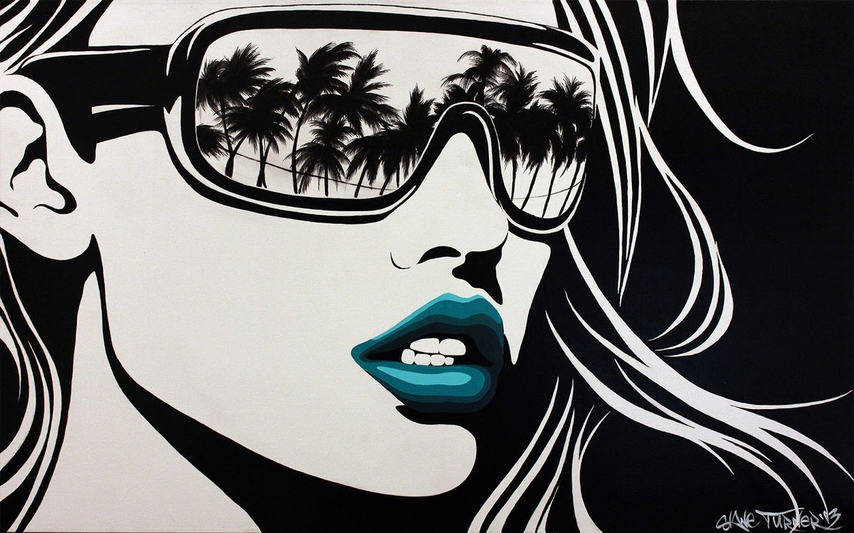 Painting of black and white pop art style portrait of woman