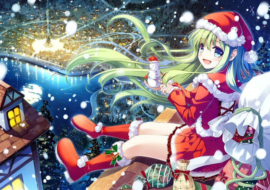 Открытка, аниме новогодние открытки