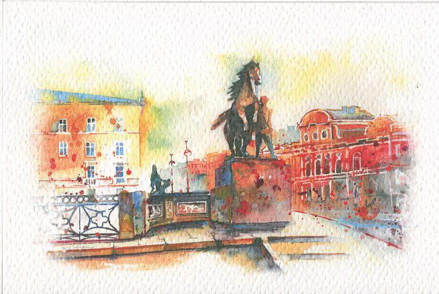 Рисованные открытки санкт петербург