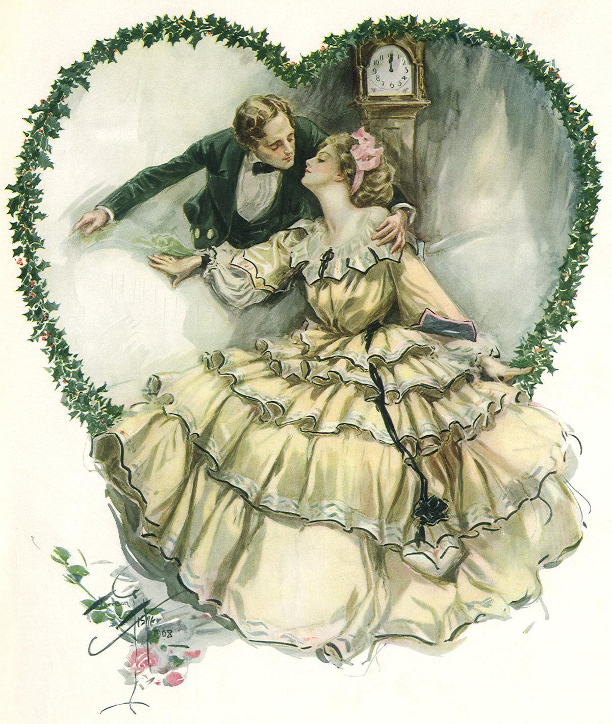 Старинная открытка с влюбленными