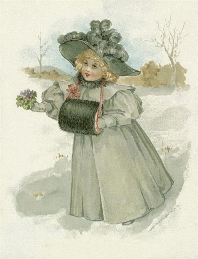 Открытка, зимняя старинная открытка