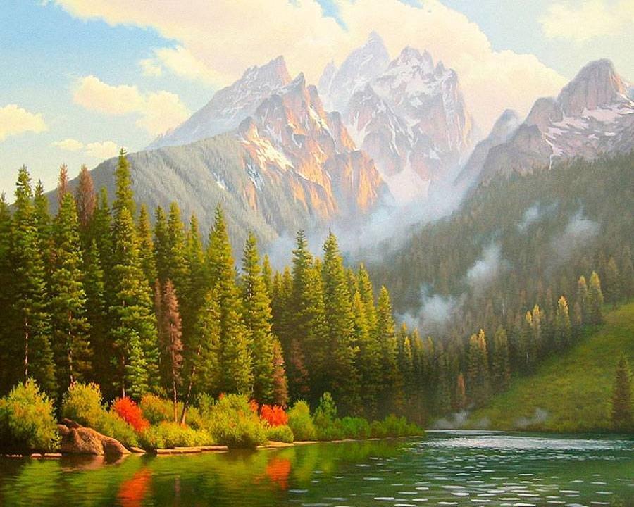 странице горы и лес картина прям