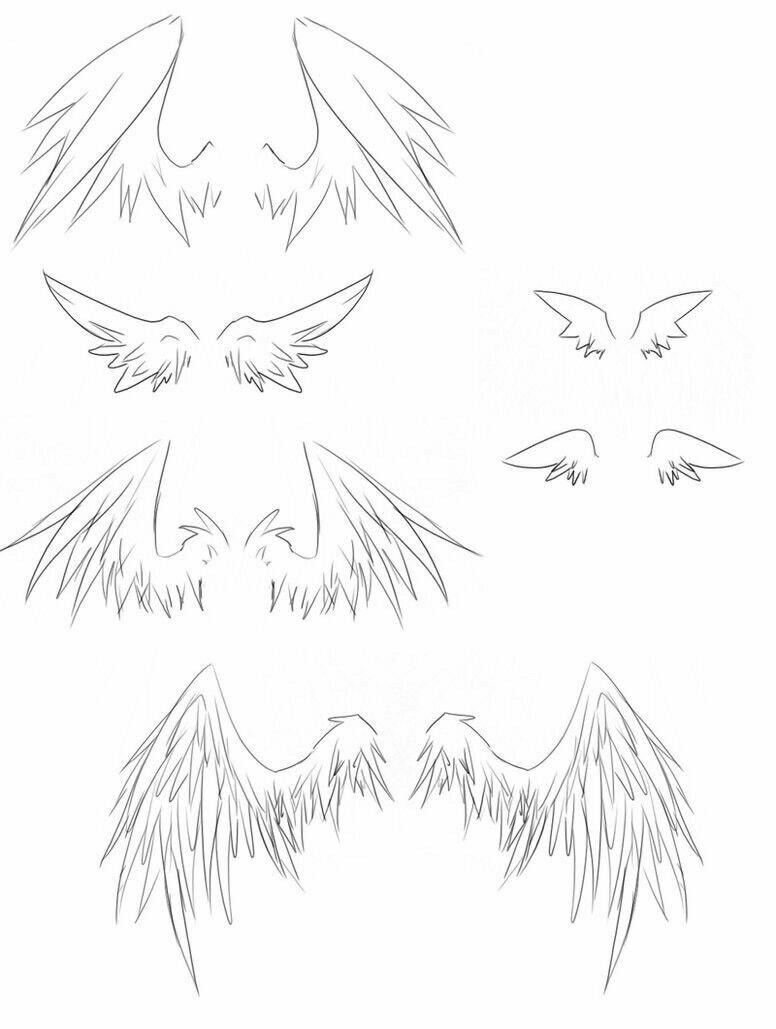 Картинки крыльев демона для срисовки мини