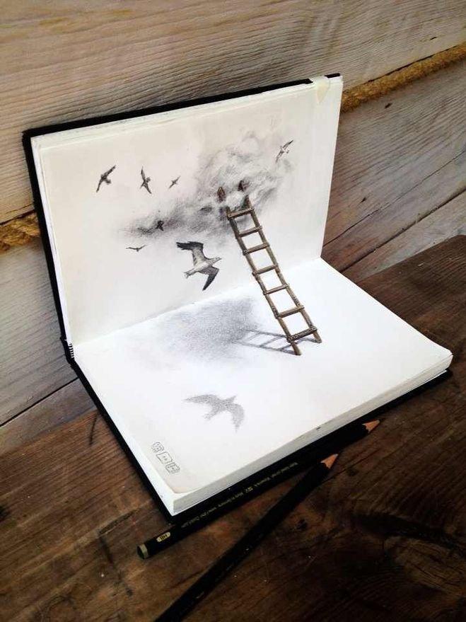 Прикольными картинками, рисунок на бумаге карандашом