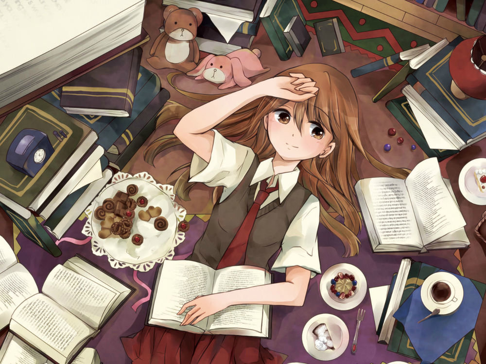 Картинка работа с учебником аниме
