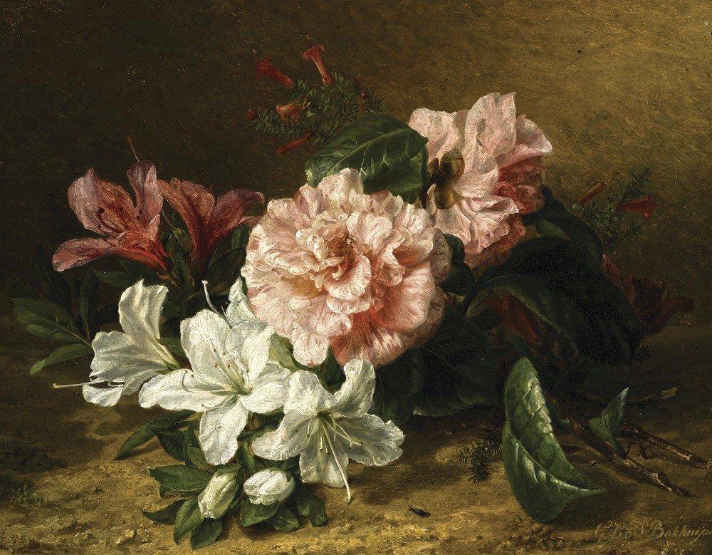 Садовые растения, голландский букет живопись фрагменты