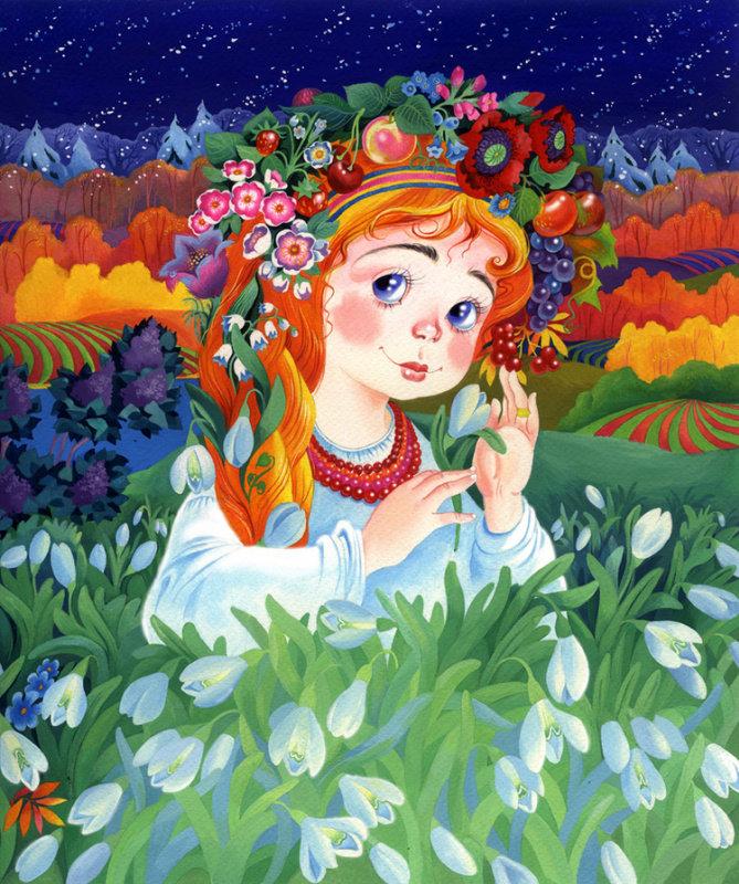 Открытки девушка-весна