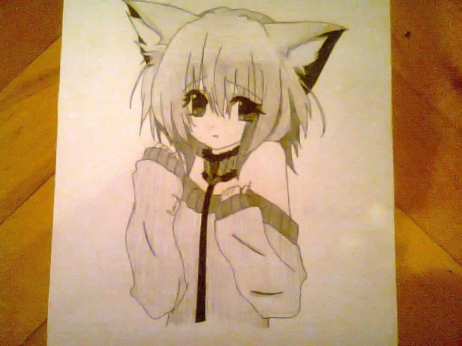 Рисунки аниме люди кошки