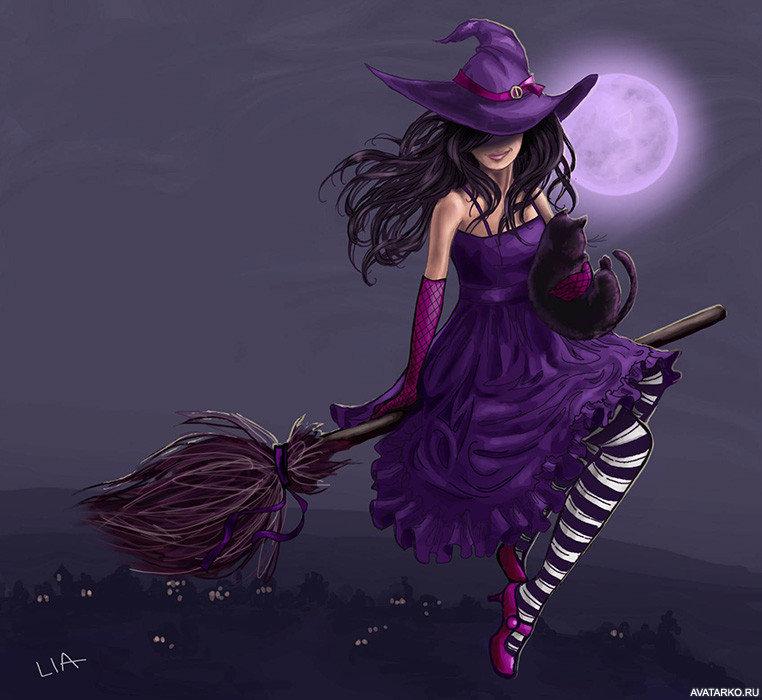 Радостные картинки, ведьмочка открытка