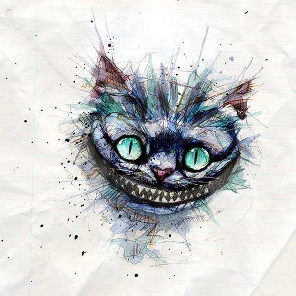 картинки чеширский кот эскиз одна самых необходимых