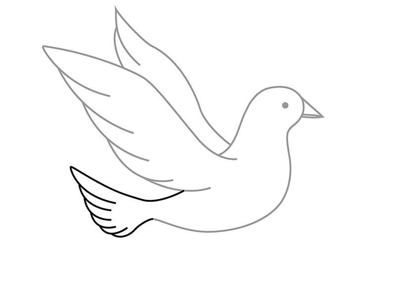 Как нарисовать голубя на открытку 9 мая