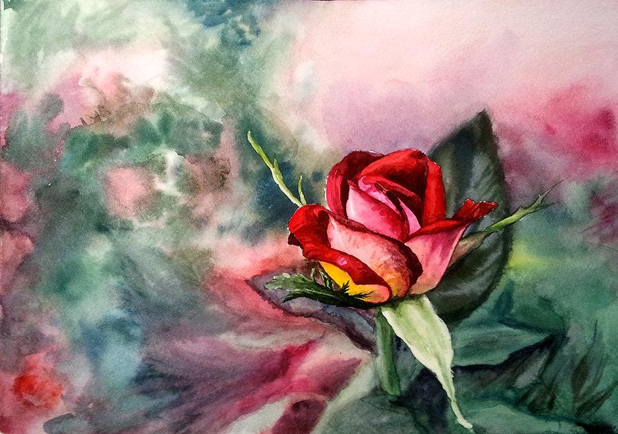 рисунок розы гуашью картинки ноги