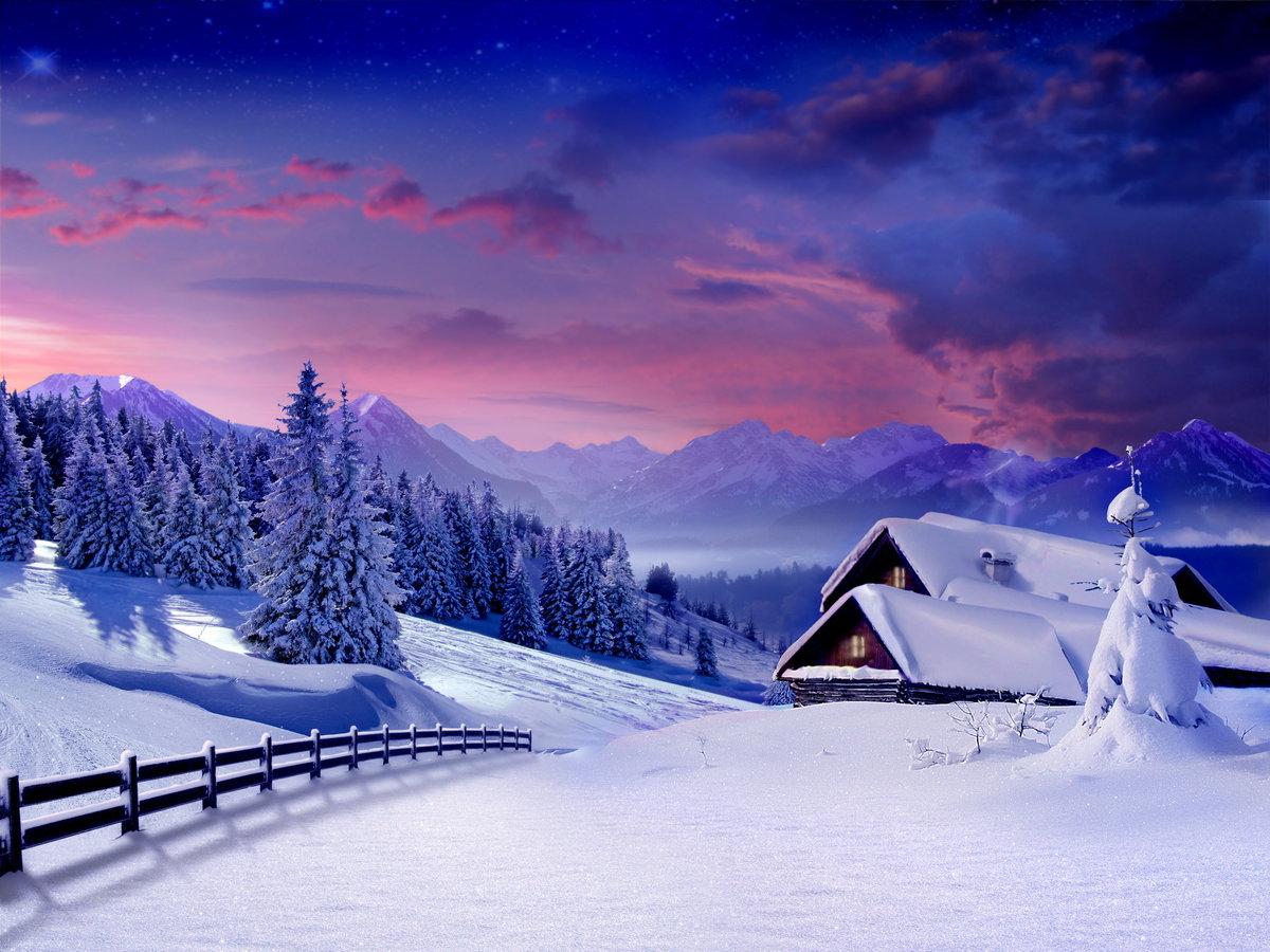Красивые открытки зимний пейзаж