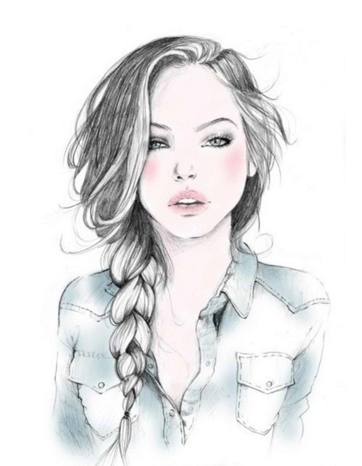 Картинки девушки нарисованные, открытки хорошими пожеланиями