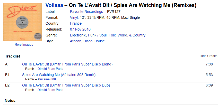 Voilaaa - On Te L'Avait Dit / Spies Are Watching Me (Remixes) (Vinyl ...Lp At Discogs) S1200