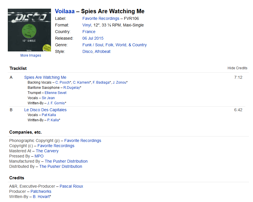 Voilaaa - Spies Are Watching Me (Vinyl) at Discogs S1200