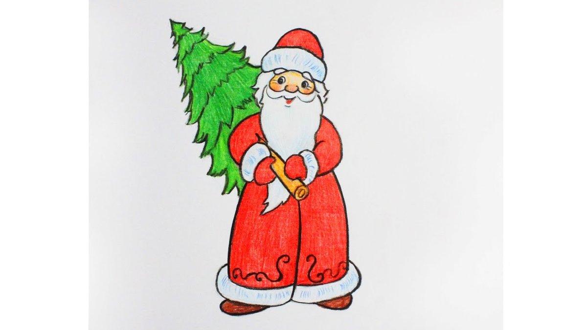 Днем рожденья, картинки на новый год нарисовать деда мороза