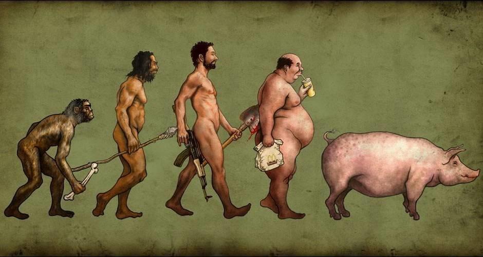 Смешная эволюция картинки, рисунок