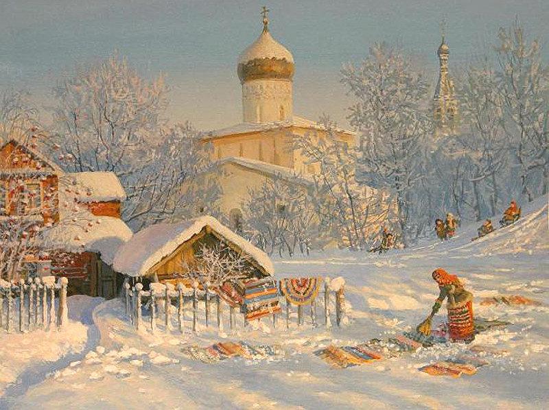 Русская деревня открытка