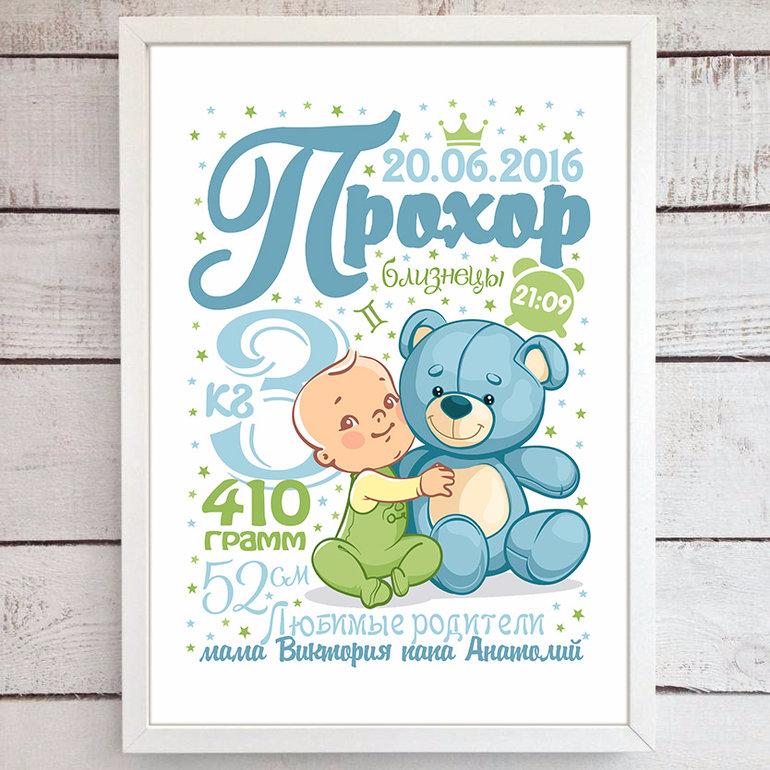Метрика для новорожденного постер онлайн