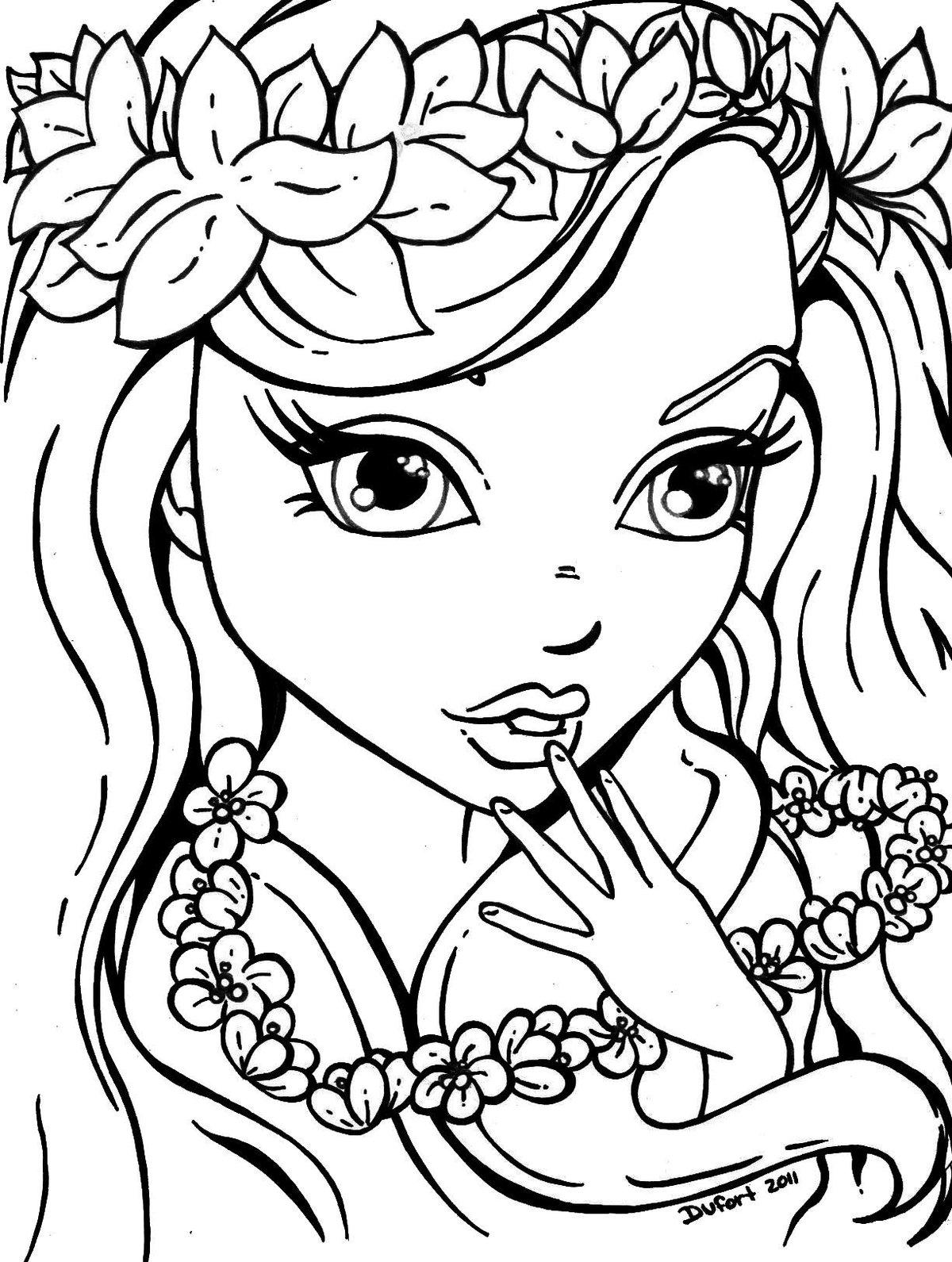 «Раскраски венками, Раскраска Девочка с венками цветы ...