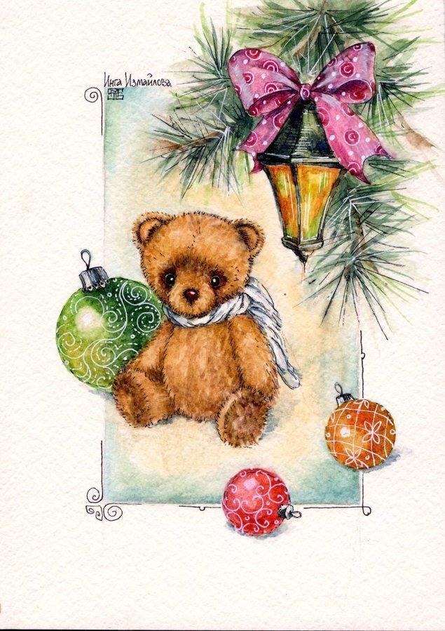 Днем рождения, мишка на новогодней открытке