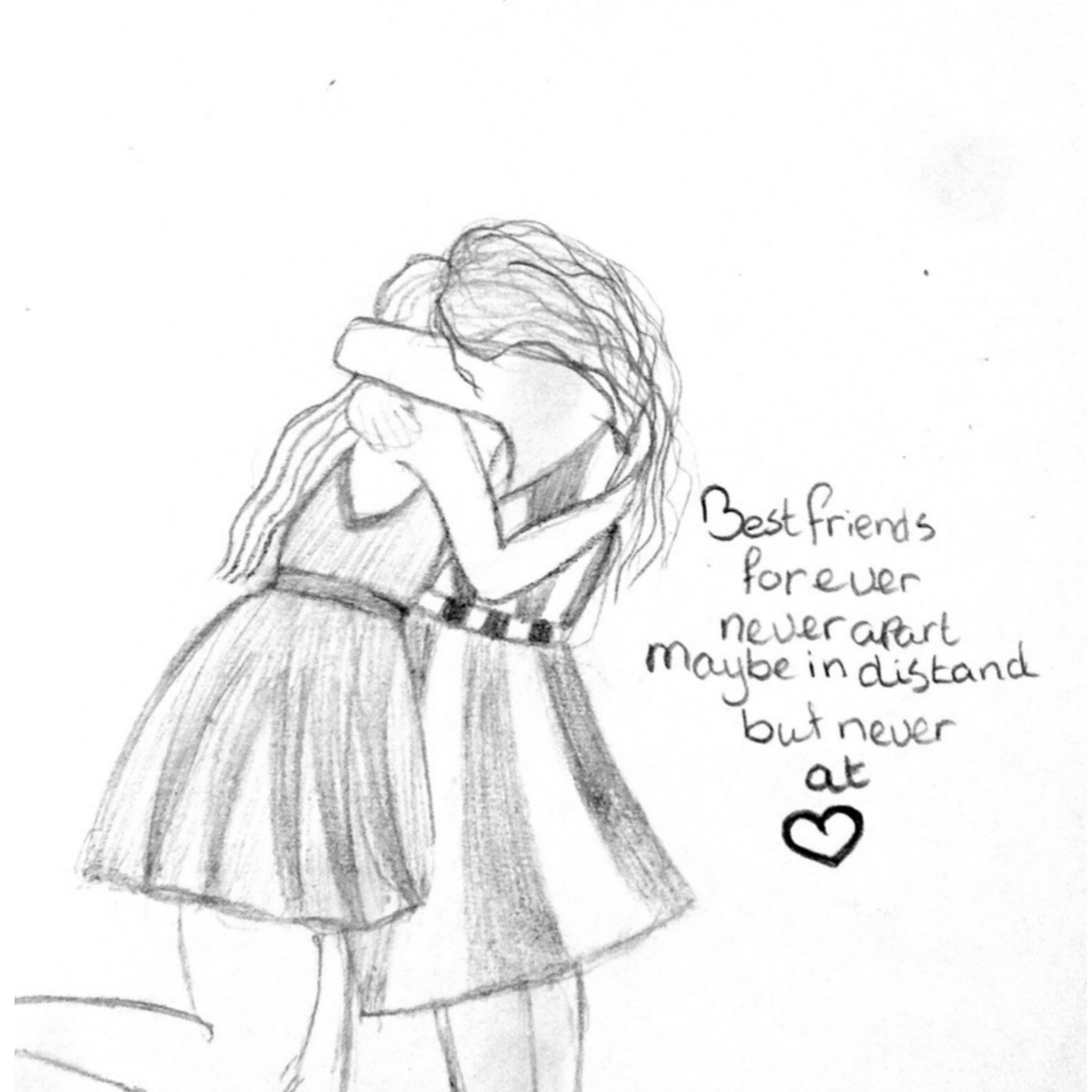 Pencil drawings of best friends cute pencil sketches of frie