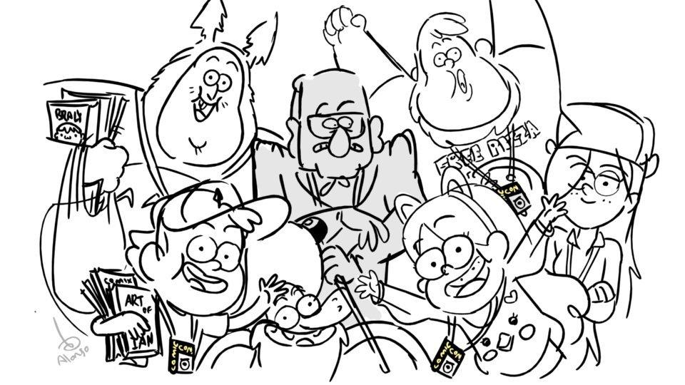 Картинки гравити фолз всех персонажей черно белые