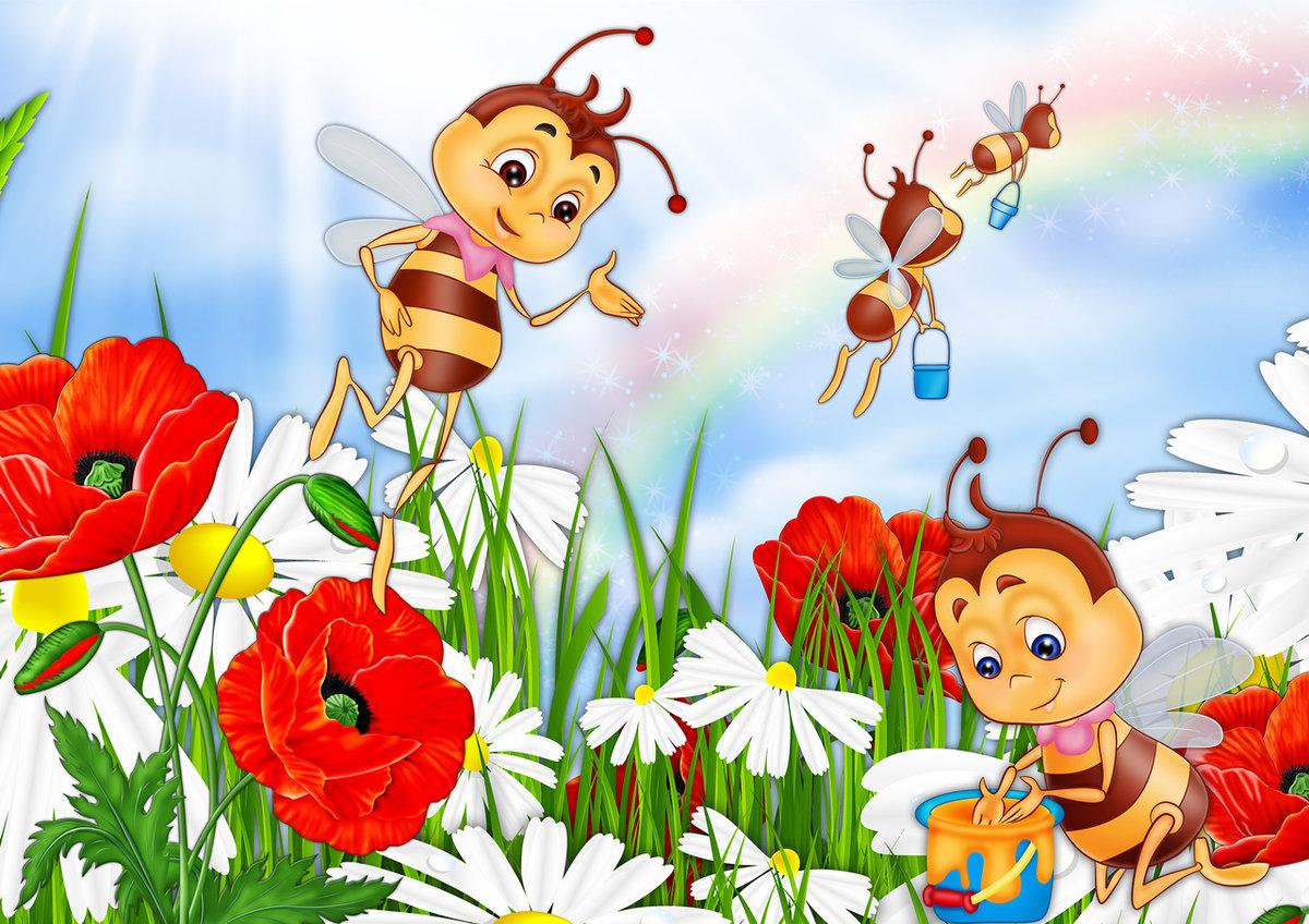 Картинка пчелы на цветке для детей