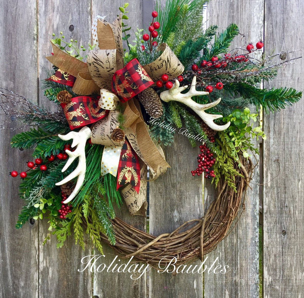 holiday christmas antler wreath - 728×714