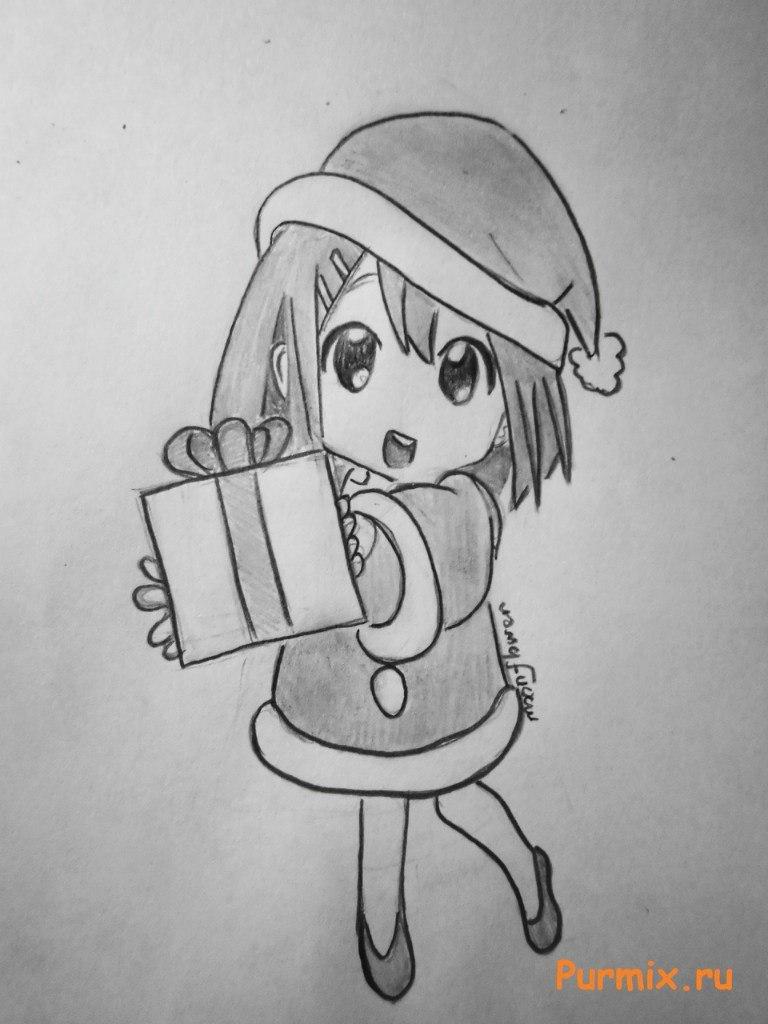 Объемная открытка, картинки карандашом с новым годом аниме