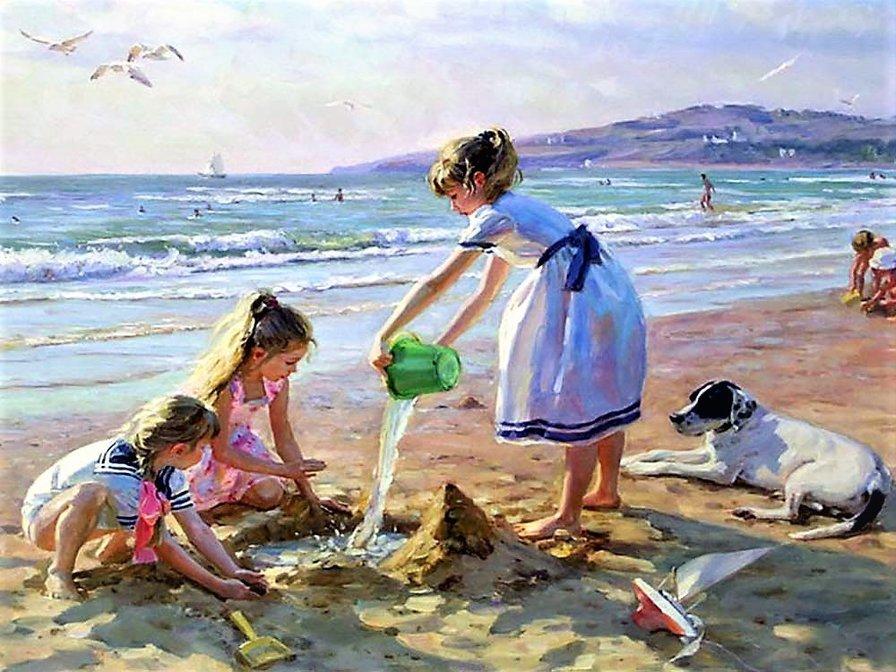 Рисунок дети на берегу моря