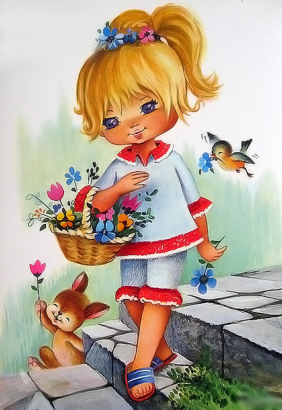 Девочка с цветами открытки с днем рождения, надписью виртуальному
