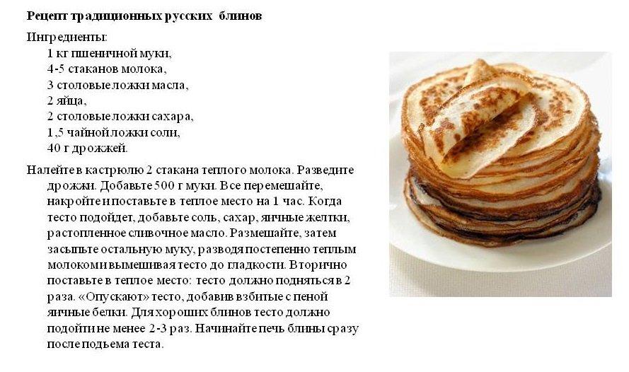 Картинка с рецептами блинов