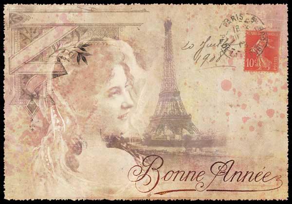 Рисунки черной, текст открытка на французском