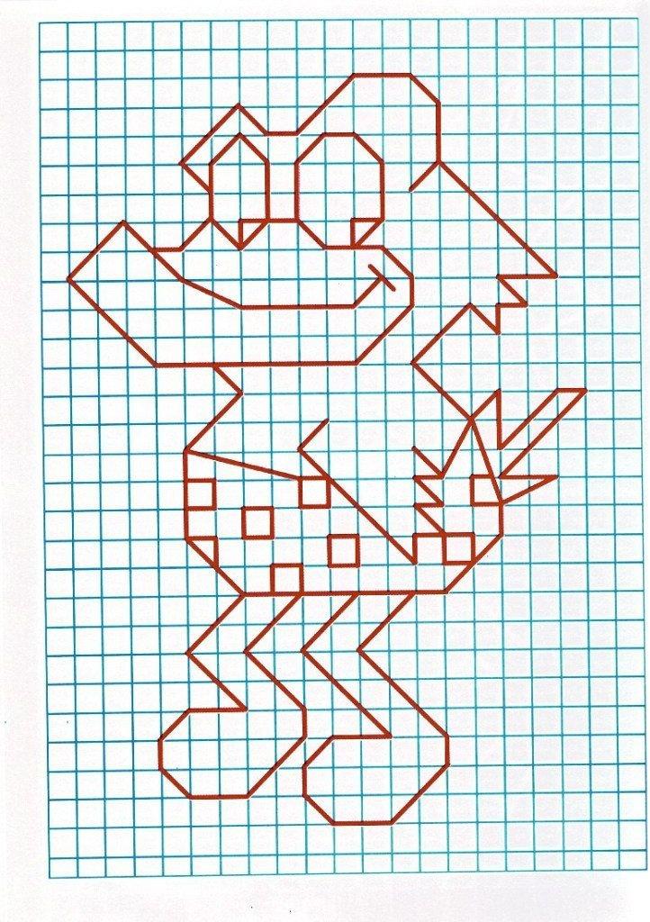 Рисунок из клеточек в тетради картинки