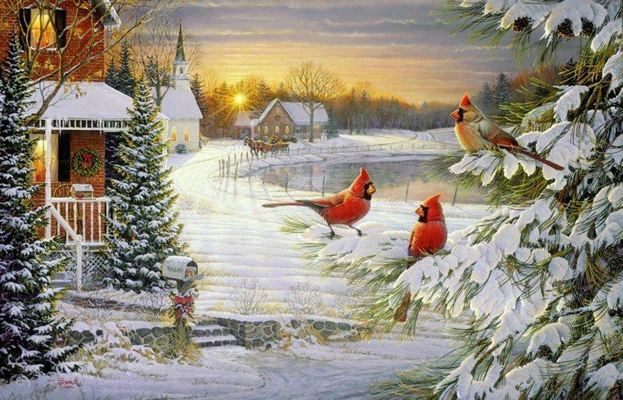Друзьям открытка, новогодняя открытка с зимним пейзажем