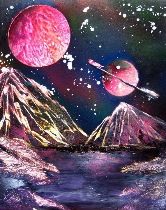 Картинки красками космос, открытка мастер класс