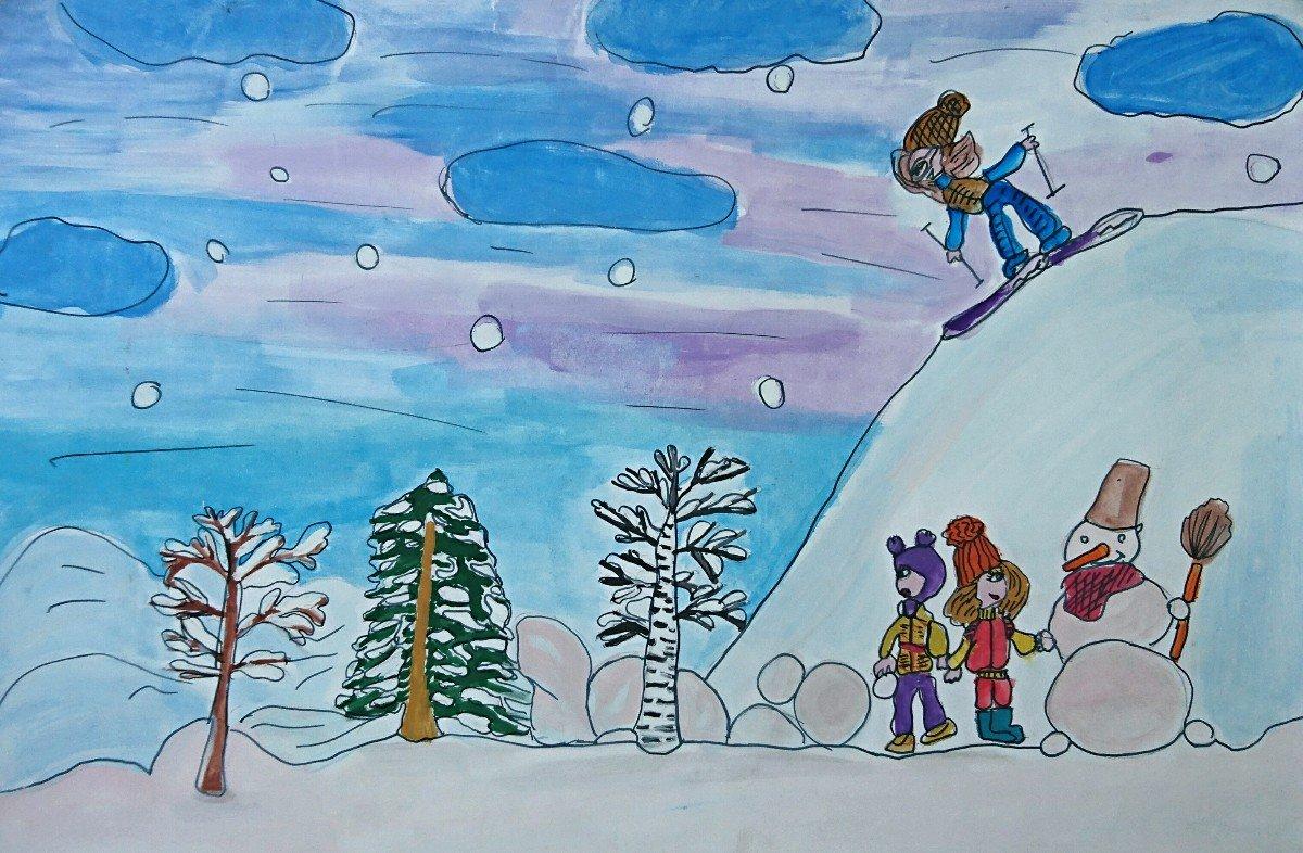 Зимние детские картинки рисунки