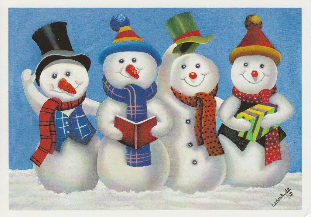 открытка с изображением снеговика нужно