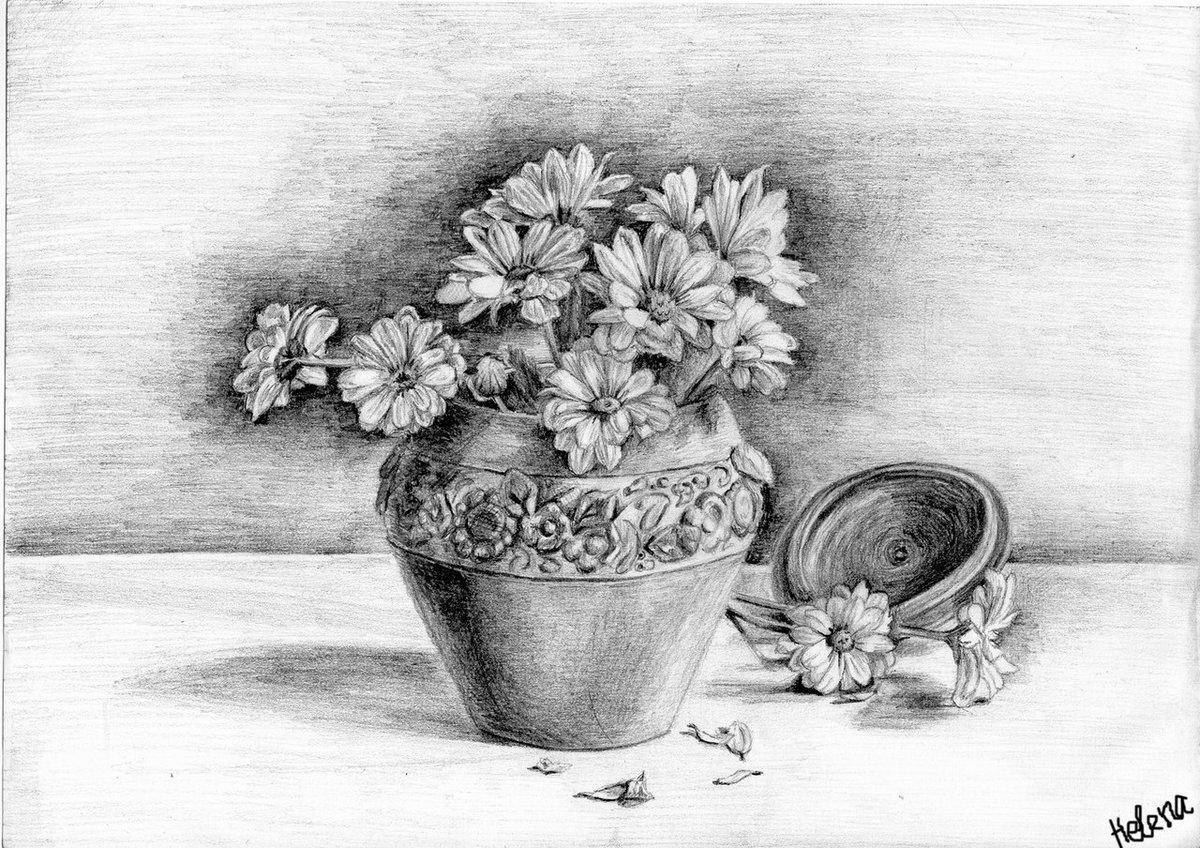 как ваза с цветами рисунки простым карандашом вариант оснащён направляющими