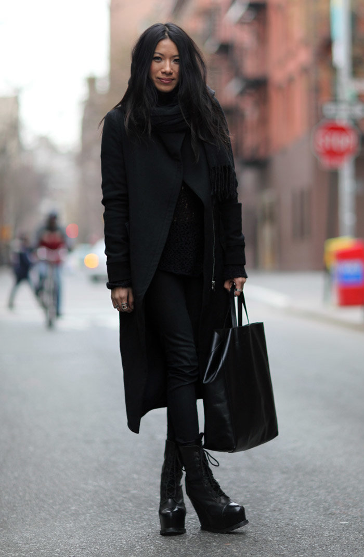 стильные образы с черным пальто фото