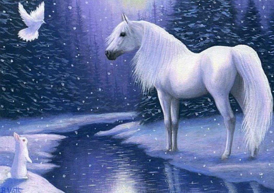 Картинки блестящие белые лошади зимой