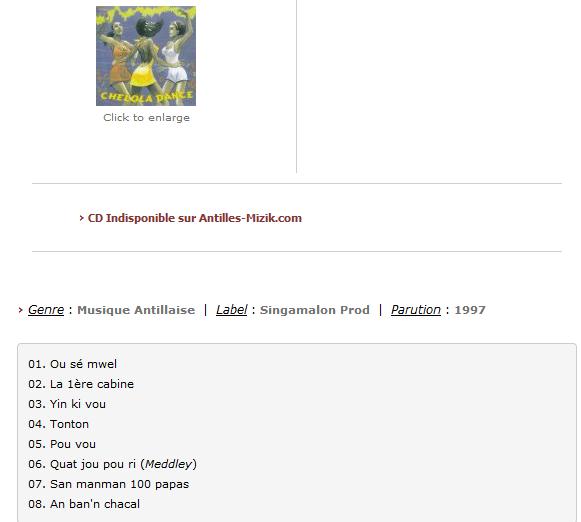 CHELOLA DANCE - Antilles-Mizik.com S1200