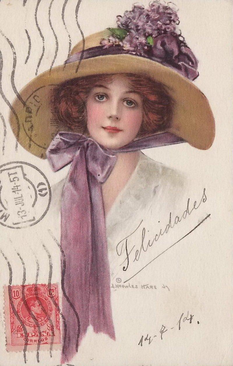 неженка- старые открытки шляпки фиксировать головки вспышек