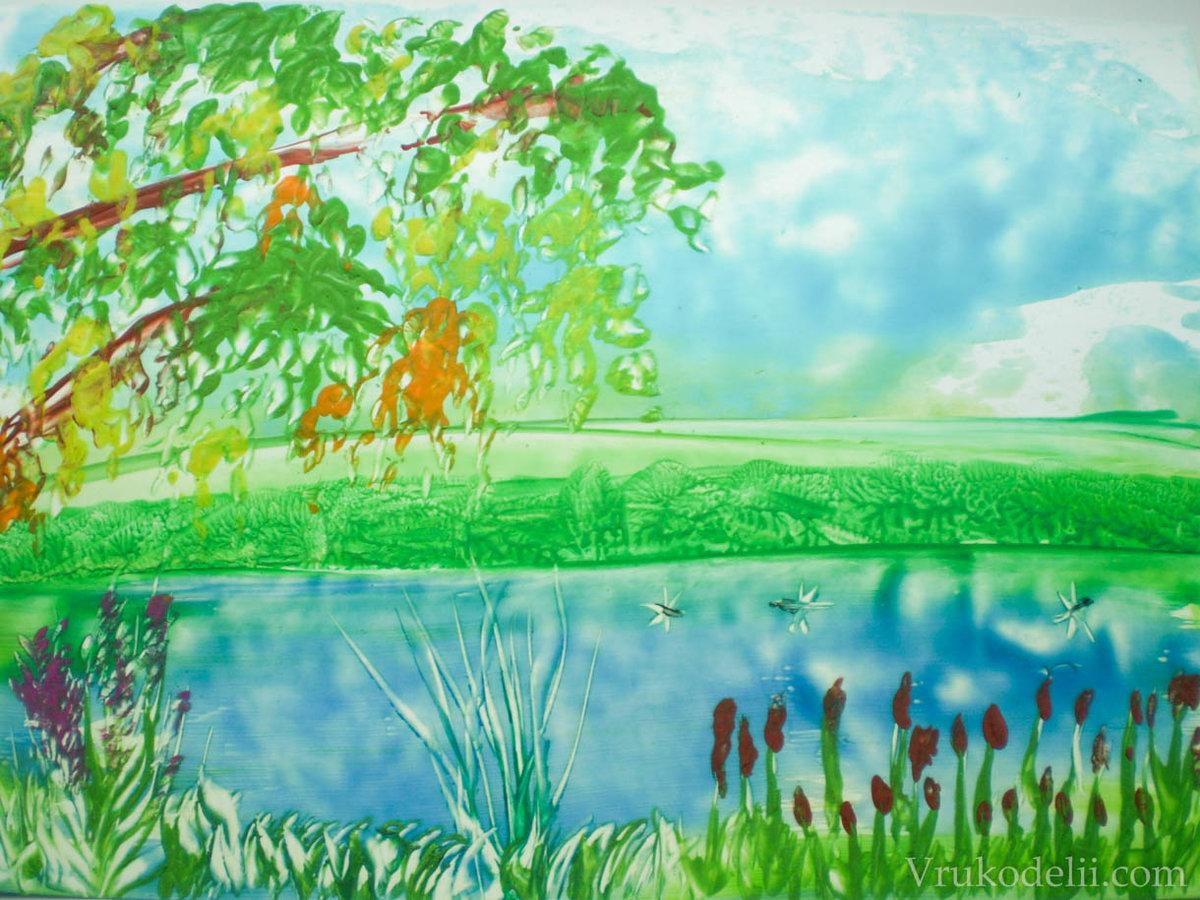 Речка картинки красками