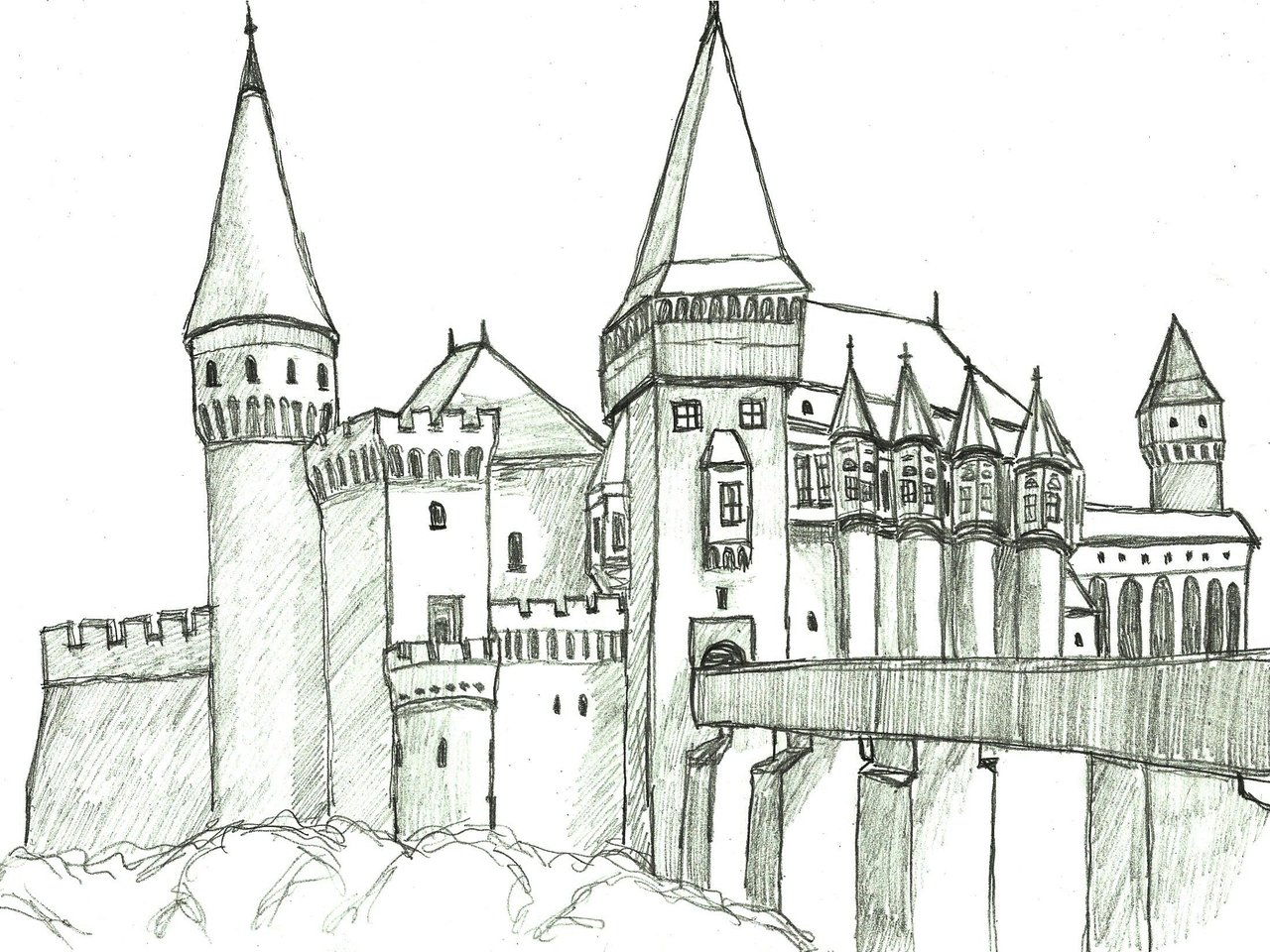 Medieval Castle Drawing Bing Images Card From User Vitnika2378